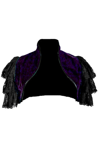 Dark Star Gothic Shrug, Purple Velveteen Bolero Jacket with Ruffled Lace Sleeves | Angel Clothing