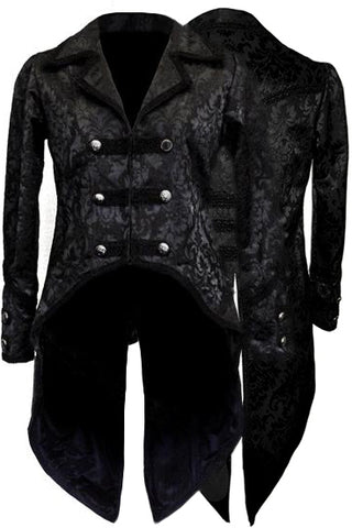 Dark Star Black Brocade Coat | Angel Clothing