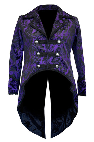 Dark Star Gothic Tailcoat, Steampunk Pirate Brocade Coat - Purple/Black | Angel Clothing