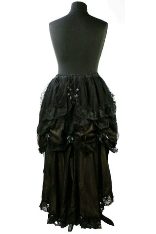 Dark Star Steampunk Skirt, Bronze Waterfall Net and Lace Gothic Skirt with Rose Detail | Angel Clothing