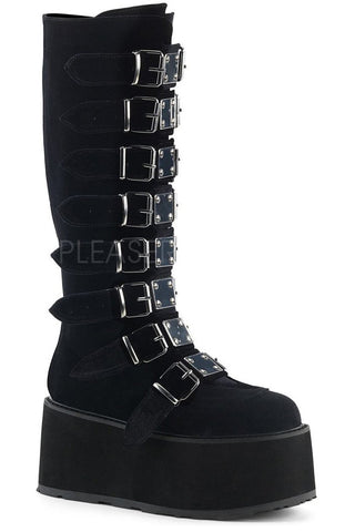 Demonia DAMNED-318 Boots Black Velvet | Angel Clothing