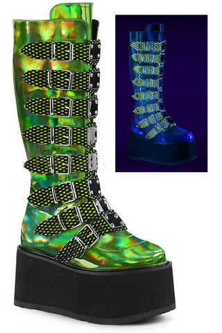 Demonia DAMNED 318 Boots Green | Angel Clothing