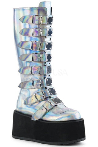 Demonia DAMNED-318 Boots Silver | Angel Clothing