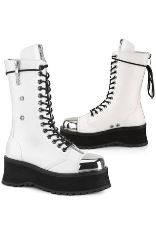 Demonia GRAVEDIGGER-14 Boots White | Angel Clothing