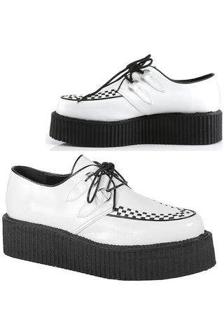 Demonia V CREEPER 502 Shoes White | Angel Clothing