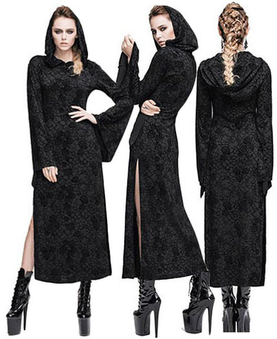 Devil Fashion Burnout Velvet Long Hooded Dress with Side Splits | Angel Clothing