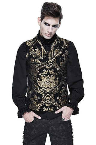 Devil Fashion Double Breasted Damask Gold Waistcoat | Angel Clothing