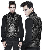 Devil Fashion Double Breasted Damask Silver Waistcoat | Angel Clothing