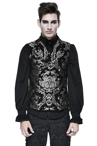 Devil Fashion Double Breasted Damask Silver Waistcoat - Angel Clothing