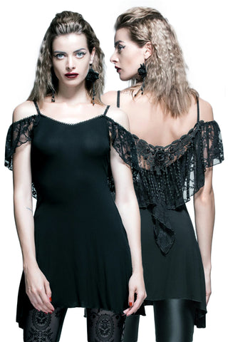 Devil Fashion Elegant Gothic Lace Drop Back Top - Angel Clothing