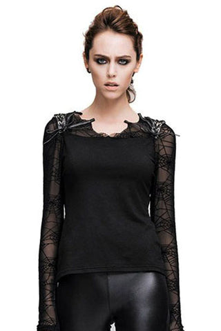 Devil Fashion Spiderweb Lace Sleeve Top - Angel Clothing