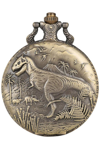 Dinosaur Steampunk Pocket Watch on Necklace Chain | Angel Clothing