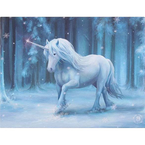 Anne Stokes Winter Wonderland Unicorn Picture 19cm x 25cm | Angel Clothing