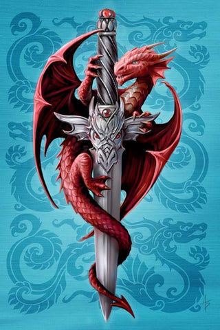 Dragon and Dagger Card by Anne Stokes - Angel Clothing