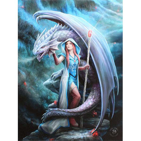 Dragon Mage Canvas Picture by Anne Stokes 19cm x 25cm - Angel Clothing