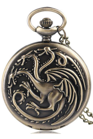Dragon Steampunk Pocket Watch on Necklace Chain | Angel Clothing