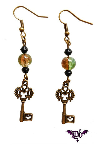 Dragophelion Designs Bronze tone Steampunk Key Earrings | Angel Clothing