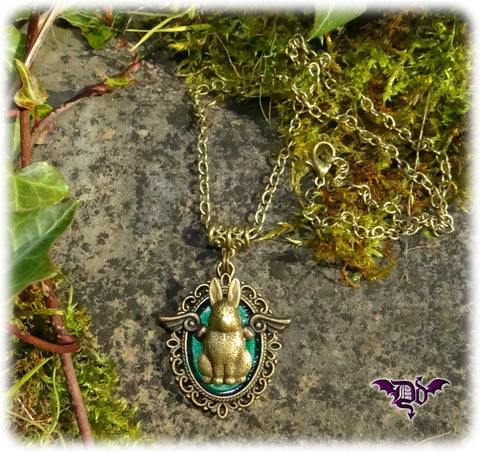 Dragophelion Designs Flying Bunny Steampunk Necklace | Angel Clothing