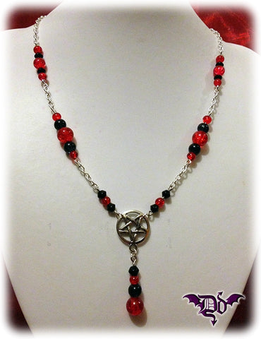 Dragophelion Designs Black and Red Gothic Pentagram Necklace | Angel Clothing