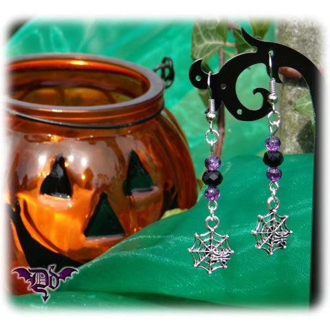 Dragophelion Designs Halloween Cobweb Earrings Gothic Spiderweb | Angel Clothing