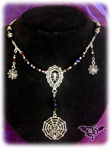 Dragophelion Designs Spiderweb Necklace Gothic Cobweb | Angel Clothing