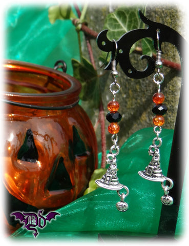 Dragophelion Designs Halloween Wizard Hat Pumpkin Earrings - Angel Clothing