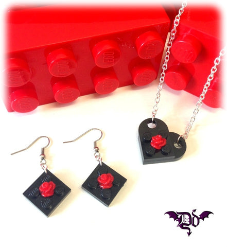Dragophelion Designs Lego Valentines Heart Necklace with Rose | Angel Clothing