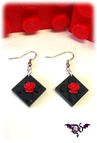 Dragophelion Designs Lego Valentines Rose Earrings - Angel Clothing