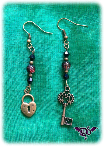 Dragophelion Designs Lock and Key Steampunk Earrings - Angel Clothing