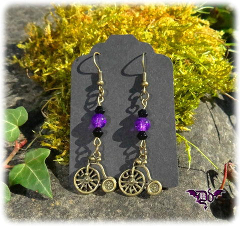 Dragophelion Designs Penny Farthing Steampunk Earrings - Angel Clothing
