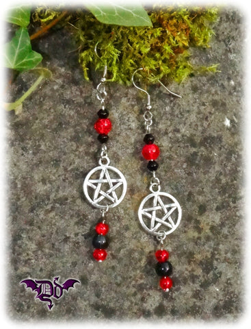 Dragophelion Designs Pentagram Bead Drop Earrings | Angel Clothing