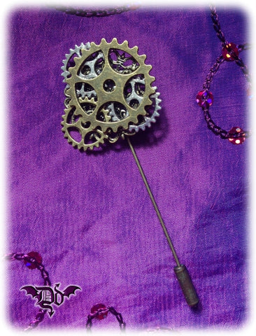 Dragophelion Designs Steampunk Cravat Pin with Multi Gears - Angel Clothing