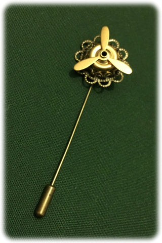 Dragophelion Designs Steampunk Cravat Pin with Propeller | Angel Clothing