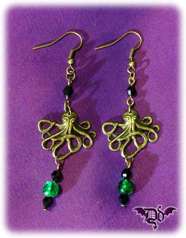 Dragophelion Designs Steampunk Octopus Kraken Earrings | Angel Clothing