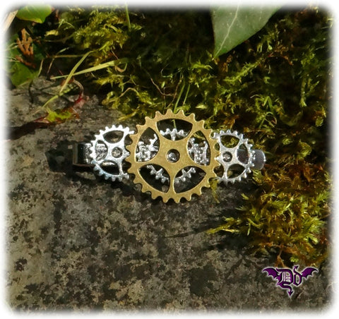 Dragophelion Designs Steampunk Tie Clip with Cogs and Gears - Angel Clothing