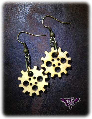 Dragophelion Designs Wooden Steampunk Gear Earrings | Angel Clothing