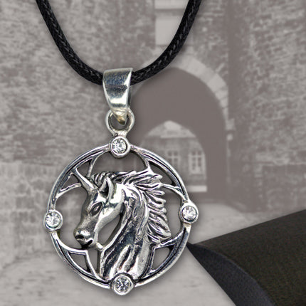 Echt - etNox 925 Sterling Silver Unicorn Pendant with Zirconia Crystals. Gothic Unicorn Necklace - Angel Clothing