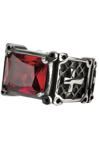Echt etNox Red Crystal Cross Ring | Angel Clothing