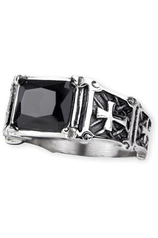 Echt etNox Stainless Steel Ring with Black Zirconia | Angel Clothing