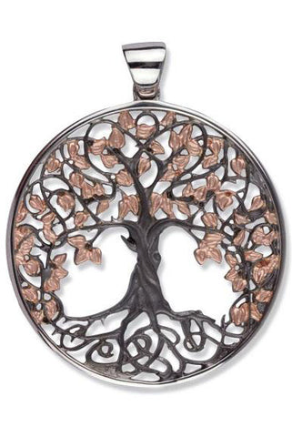 Echt LuxXL Black/Gold Sterling Silver Tree of Life Pendant | Angel Clothing