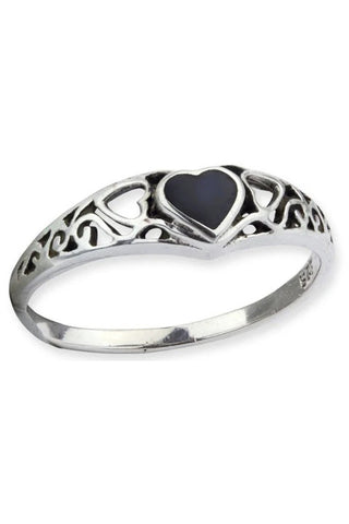 Echt LuxXL Black Heart Sterling Silver Ring | Angel Clothing