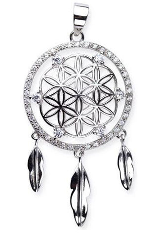Echt LuxXL Dream Catcher Sterling Silver Pendant with Zirconia | Angel Clothing