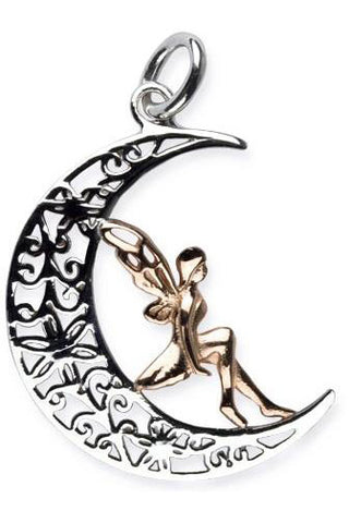 Echt LuxXL Sterling Silver Elf in Moon Pendant | Angel Clothing