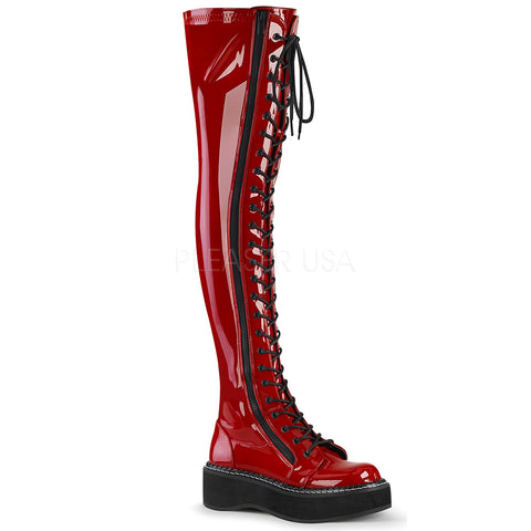 Demonia EMILY 375 Boots Red | Angel Clothing