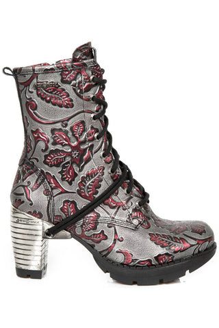 New Rock Red Metallic Vintage Flower Ankle Boots M.TR001-S6 | Angel Clothing