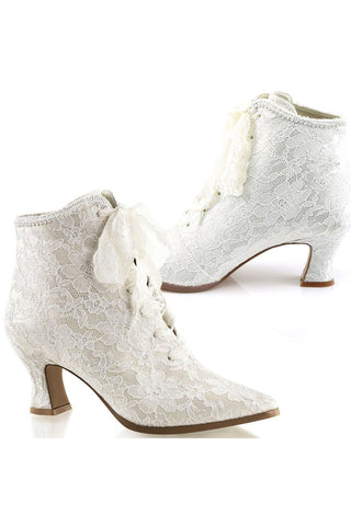 Fabulicious Victorian 30 Boots Ivory | Angel Clothing