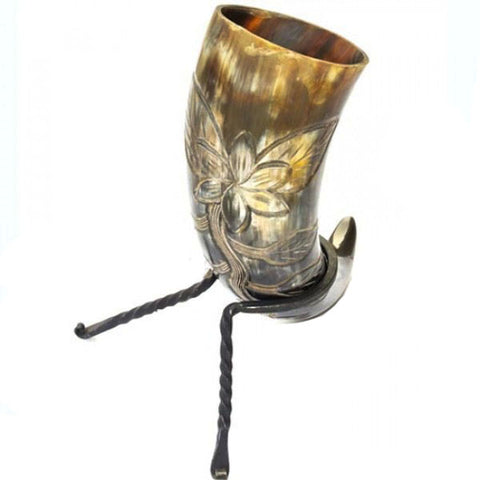 Flower Blossom Drinking Horn and Rack - Angel Clothing