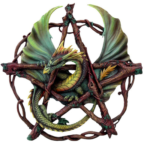 Forest Pentagram Dragon Wall Plaque Green Brown | Angel Clothing