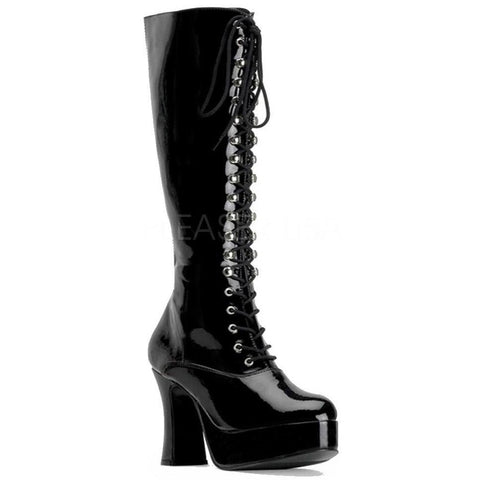 Funtasma Black Patent Chunky Heel Knee Boots - Exotica 2020 | Angel Clothing