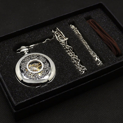 Silvertone Steampunk Pocket Watch Gift Box Set | Angel Clothing